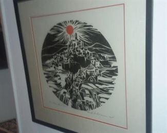 Price Cut - $150 - Linoleum Print. 26x26