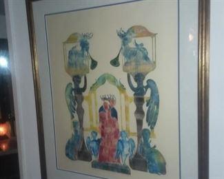 Price Cut - $150 - Original Linoleum print by Paul Dalwigk. 27x32