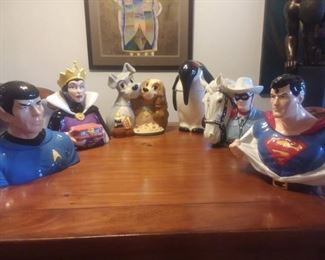 Price Cut - $25 ea ($50 for Lone Ranger) Character Cookie Jars  -   Lady and Tramp sold