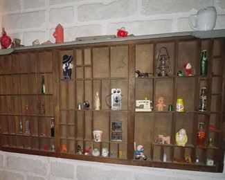 Antique Printer's Drawer with Miniatures