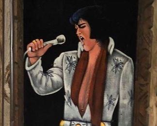 Vintage Elvis Black Velvet Framed Art