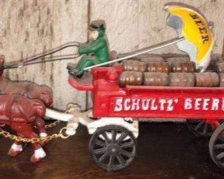 Cast Iron Schultz Beer Wagon Toy