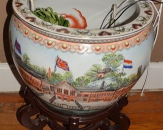 Unusual Hand Painted Japanese Pot on Stand
