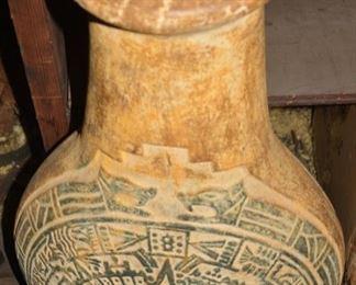 Aztec Type Huge Ceramic Vase