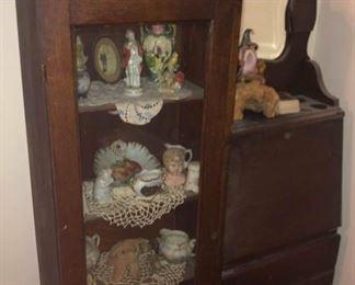 Antique Mahogany China Cabinet / Secretary Desk