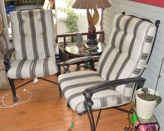 Wrought Iron Outdoor Chairs, Pair