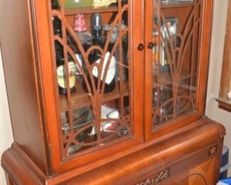 Very Nice Antique Waterfall China Cabinet, Unusual