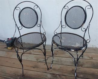 Wrought Iron Chairs, Pair