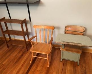 Kids Desk, Rocking Chair, and Shelf