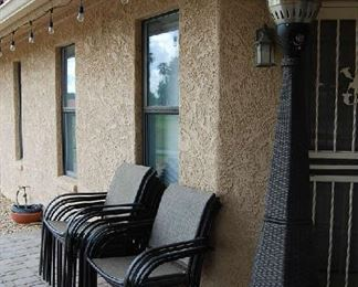 Outdoor space heater, patio seating