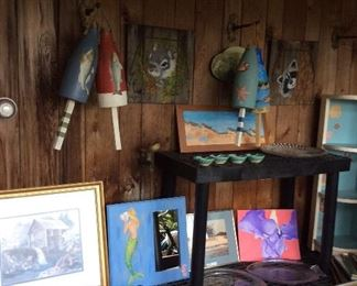 Painted buoys and artwork
