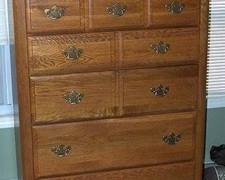 Oak high boy dresser