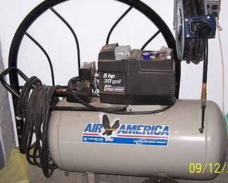 Air America 5 hp 30 gal. air compressor, hose reel and metal twin headboard and frame