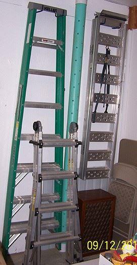 8 ft. Keller fiberglass ladder, Cosco folding ladder, aluminum ramps