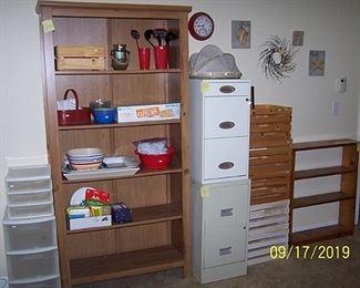 Shelf (75 in. H x 38 in. W x 13 in. D), file cabinets, wood crates, small shelf