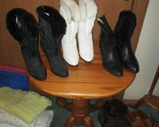 End table and brand new women's boots