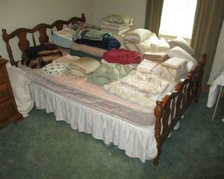 Bed with boxspring and Mattress, bedding and linens