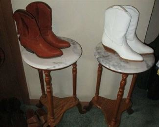 Marble-top tables and brand new women's boots