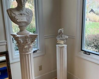 PLASTER BUSTS AND PILLARS LARGE PAIR PILLAR AND BUST $$225.  SMALL BUST $65, SMALL PILLAR $50