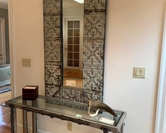 ENTRANCE HALL MIRROR TIN, $220, CONSOLE TABLE VERY HEAVY METAL WITH GLASS TOP.  $325