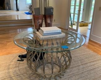 ENTRANCE HALL TABLE ETCHED ROUND GLASS AND METAL BOTTOM