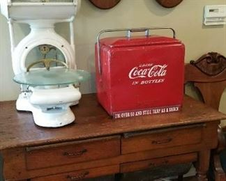 Fantastic white enameled cast iron country store scale - good condition , working.  STILL AVAILABLEOriginal Coca Cola portable cooler, nice condition SOLD  c1890  Doughboy - the heart of a country kitchen! SOLD