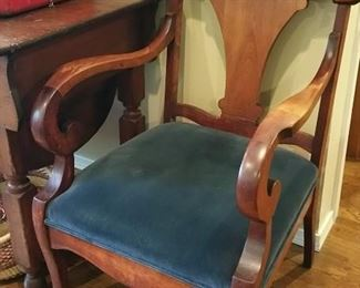 c1900 arm chair with newer dark blue velveteen upholstery.  excellent condition!