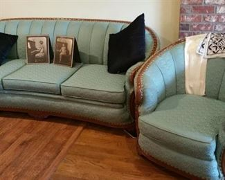 antique couch and chair completely refurbished!! condition is like new.  period but new upholstery is a beautiful gem tone turquoise!  WOW!