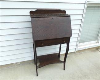 Small Vintage Solid Wood Entryway Secretaries Desk/Hutch