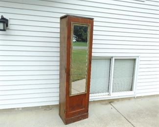 Tall Solid Wood Mirrored Cabinet/Armoir