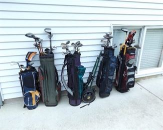 Large Lot of Golf Clubs, Bags, etc.