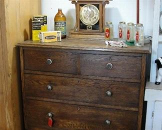 "Antique Oak Chest of Drawers 5 Drawer 36"" wide x 17-1/4"" deep  $174.99"