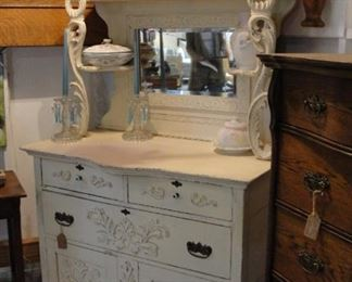 "White Beveled Mirror Sideboard/Buffet 42"" wide x 21-1/4"" deep. At the middle serpentine edge it is 22-1/2"" deep. $249.99!!"