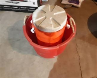 Lg Plastic Tub w/ Rope Handles and Drinking Water Cooler