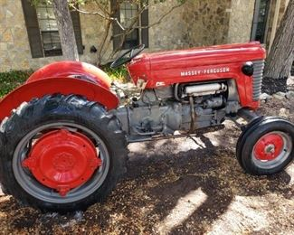 1956 Massey Ferguson MF 50. Beautiful vintage running tractor with several implements