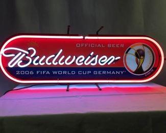 Budweiser 2006 FIFA World Cup Germany Neon Bar Sign          https://ctbids.com/#!/description/share/232669