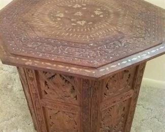 Ornate Wood End Table