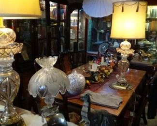 tons lamps, furniture, crystal antiques
