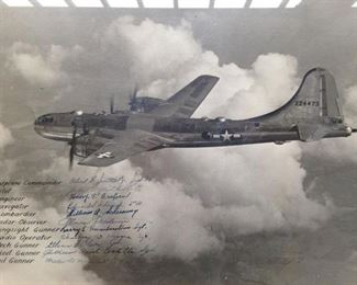 Walter Minnick's B-29 Bomber photograph signed by the Crew.