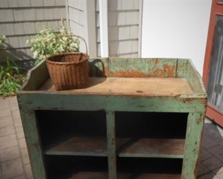 Original Paint - Dry Sink - with Open Shelving (for Crocks?) circa 1850 - great primitive. Original Scrub Sink and Surface.