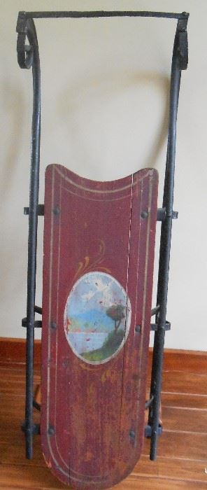 Wonderful Dark Red - Cranberry Painted Sled with Original Paint and Blue Water Scene - Hand Painted!