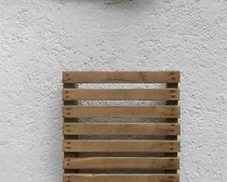 "Wooden ""RISER"" - can be used for display of linens, or for hanging plants on or for any other display you might have. Side view pic is included"
