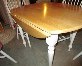 MAPLE AND WHITE SMALL DROP LEAF DINETTE TABLE WITH 4 CHAIRS