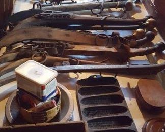 Cast iron, tools, mule hames