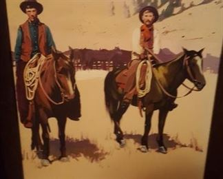One of four signed  cowboy art (after Remington)