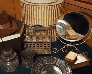 Hats, vintage perfume display, Queen Elizabeth II plate