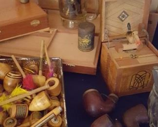 Cigar boxes, pipes, and cigarette box