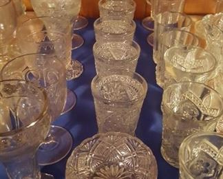Pressed glass tumblers and goblets