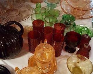 Depression glass: iris & herringbone, ruby red, green, pink, cobalt, amethyst