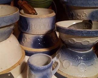 Blue and white salt glaze bowls and mug